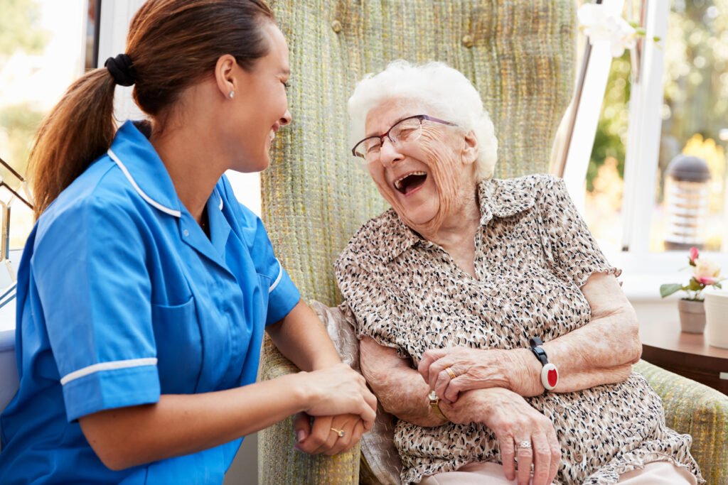 laughing carer and client